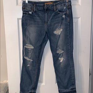 Distressed mom Capri jeans